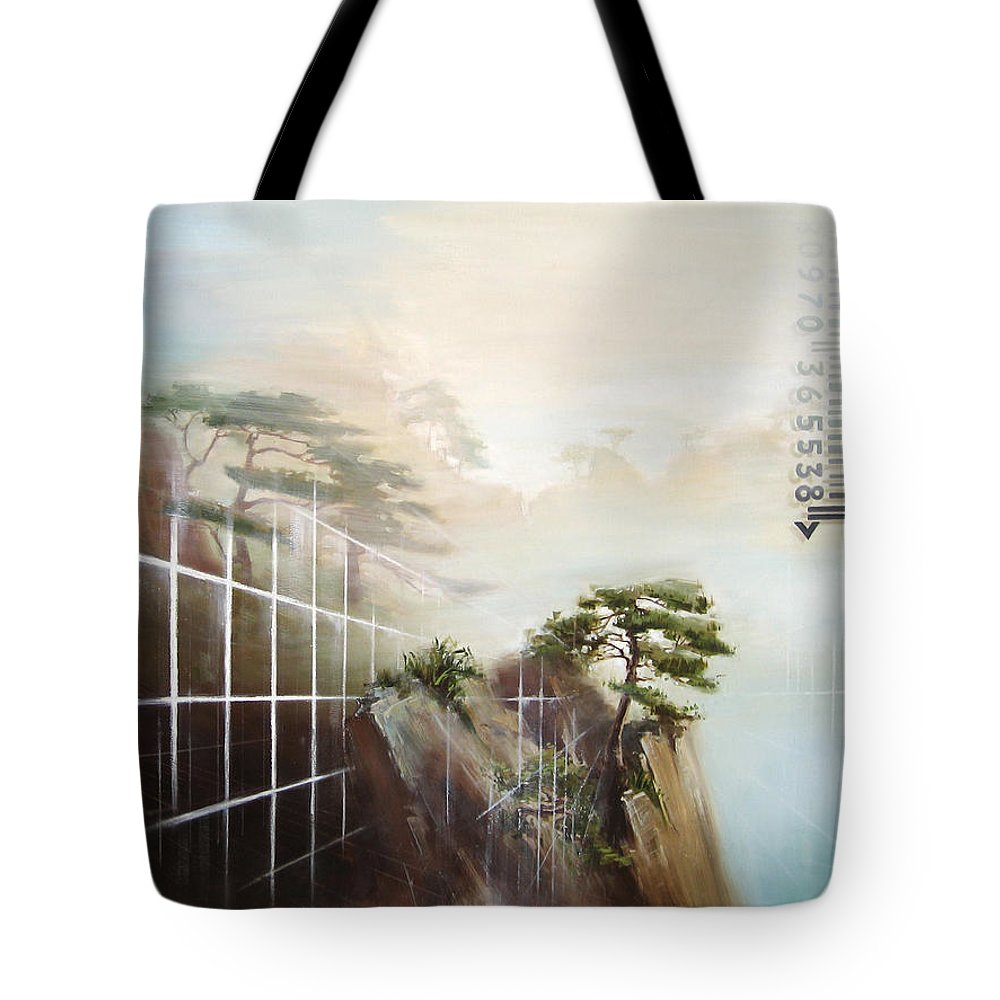 Tree Tote Bag featuring the painting Searching Huang Shan by Dave Datsuzoku