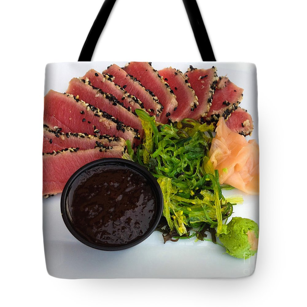 Dining Tote Bag featuring the photograph Seared Tuna With Ginger by Thomas Marchessault