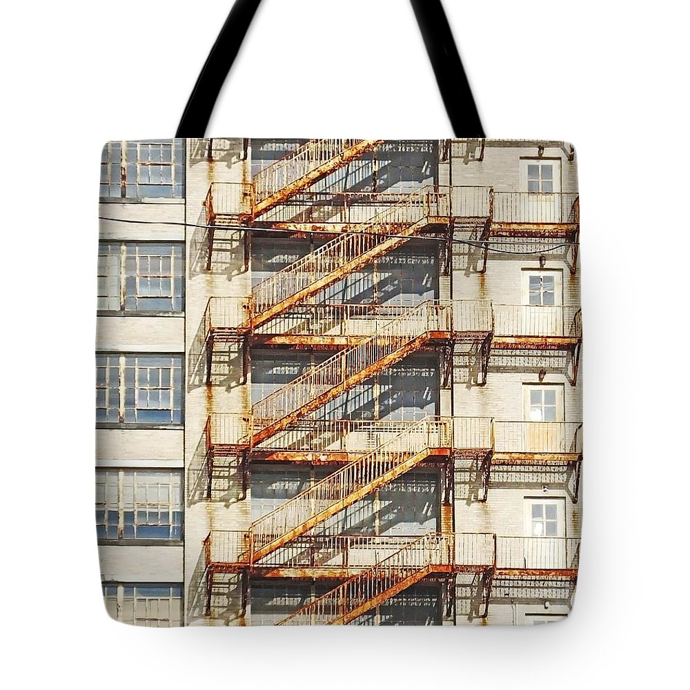 Fire Escape Tote Bag featuring the photograph Sears Crosstown Fire Escape Memphis Tn by Lizi Beard-Ward