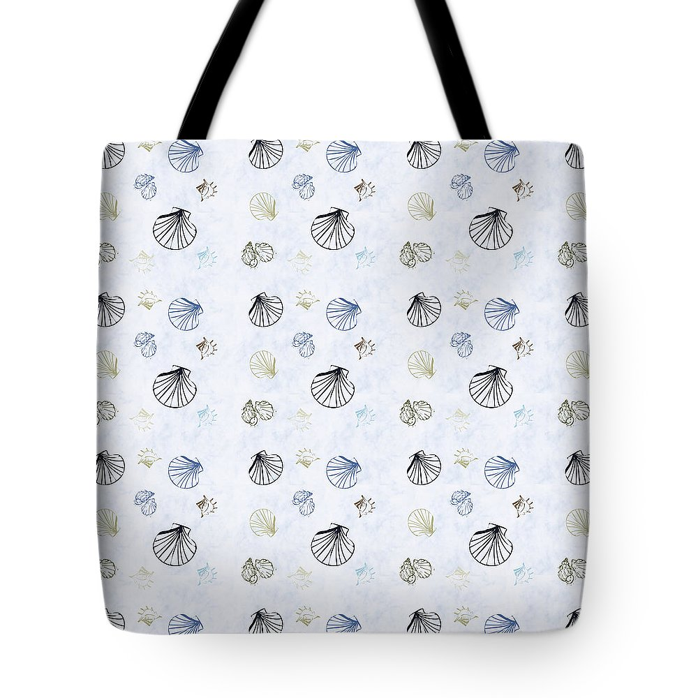 Seashell Tote Bag featuring the mixed media Seashell Pattern by Christina Rollo