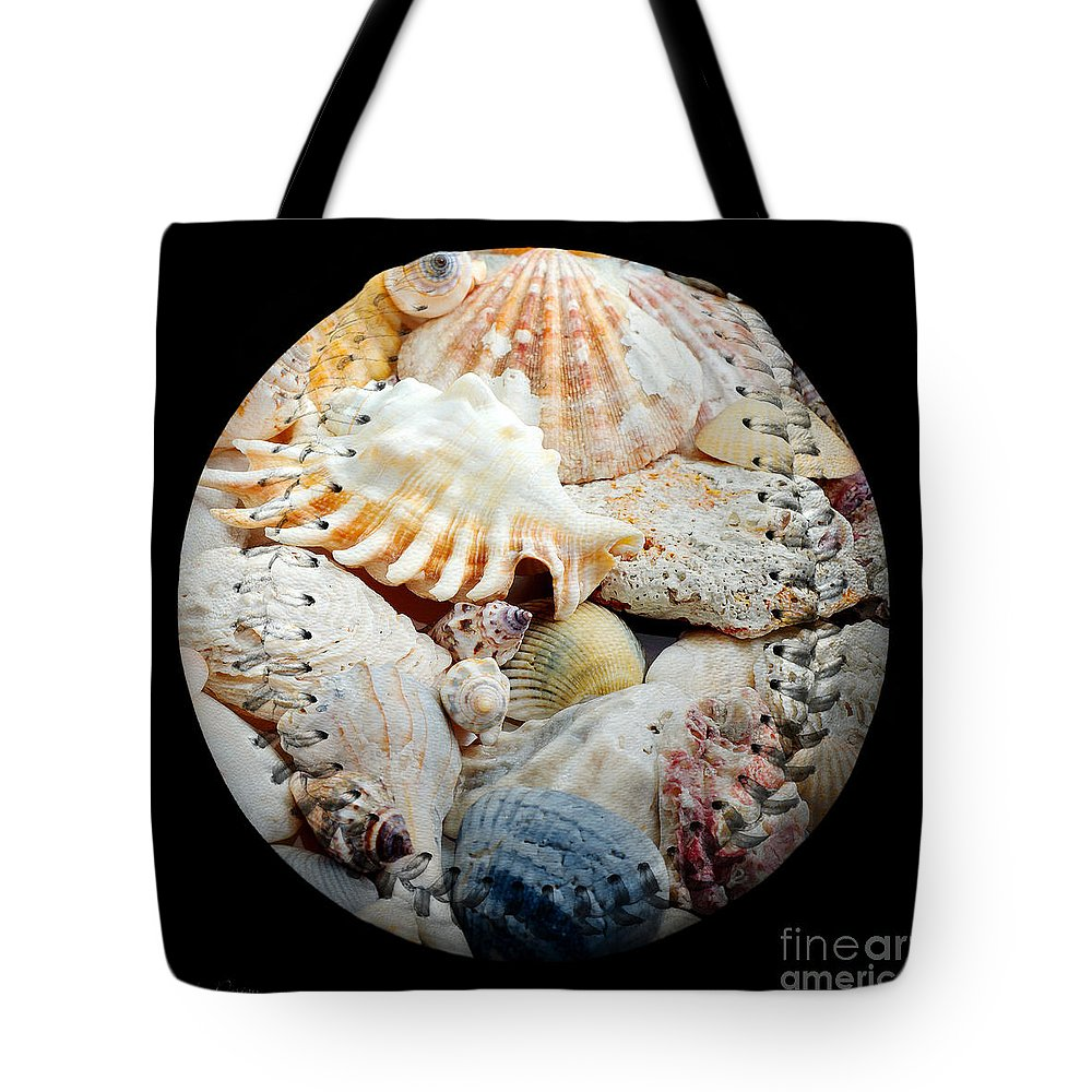 Baseball Tote Bag featuring the digital art Seashells Baseball Square by Andee Design