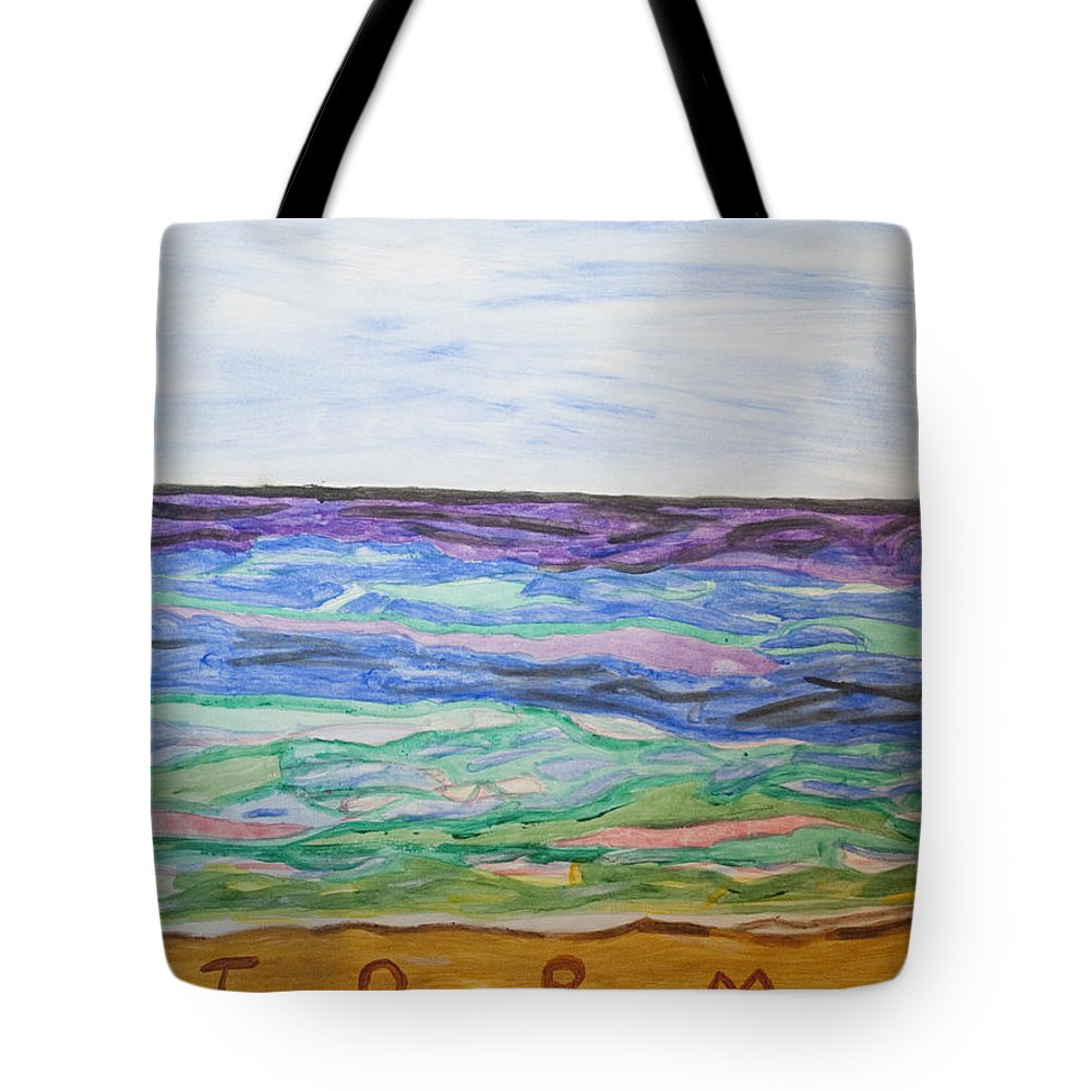 Blue Sky Tote Bag featuring the painting Sunny Seashore by Stormm Bradshaw