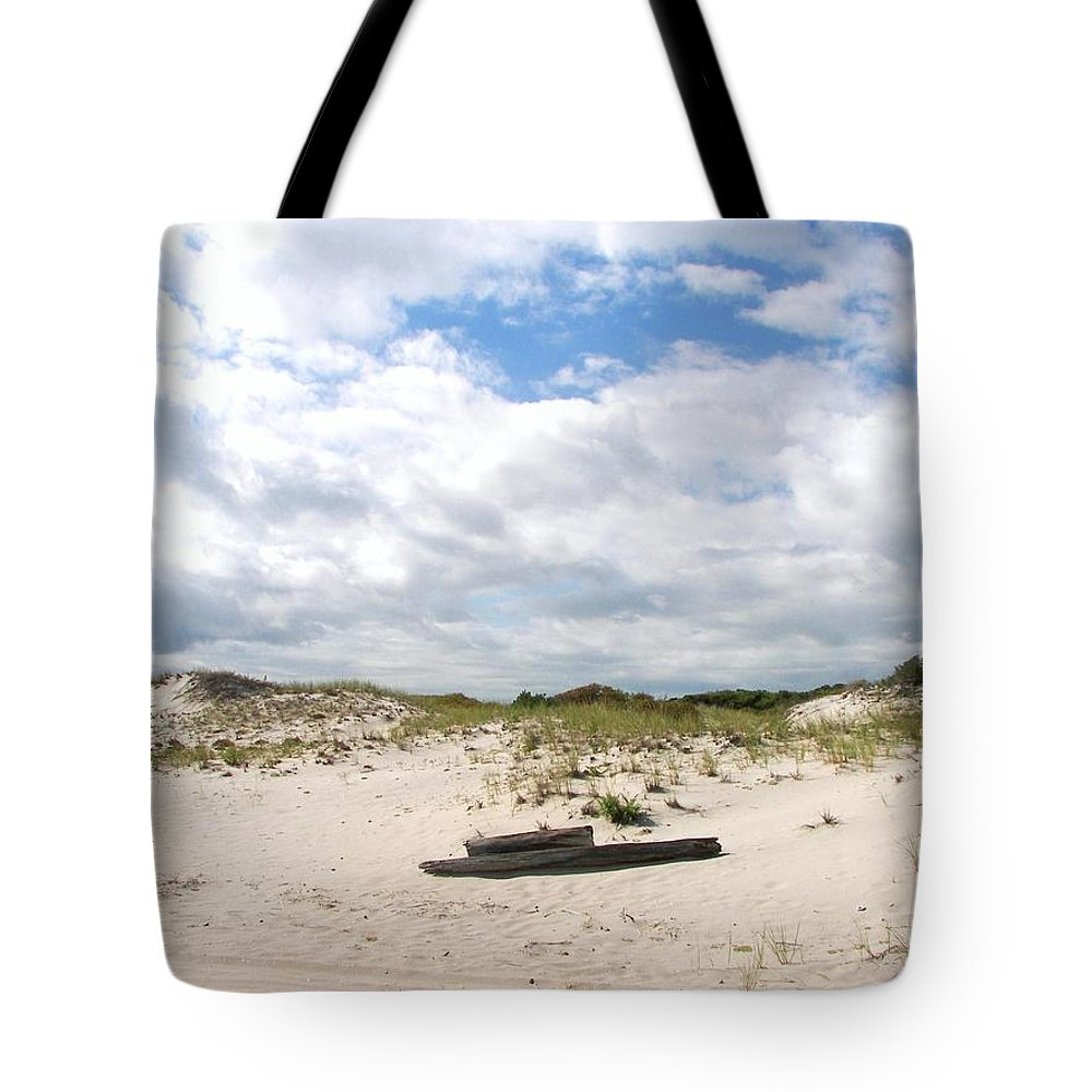 Sand Tote Bag featuring the photograph Seaside Driftwood And Dunes by Pamela Hyde Wilson