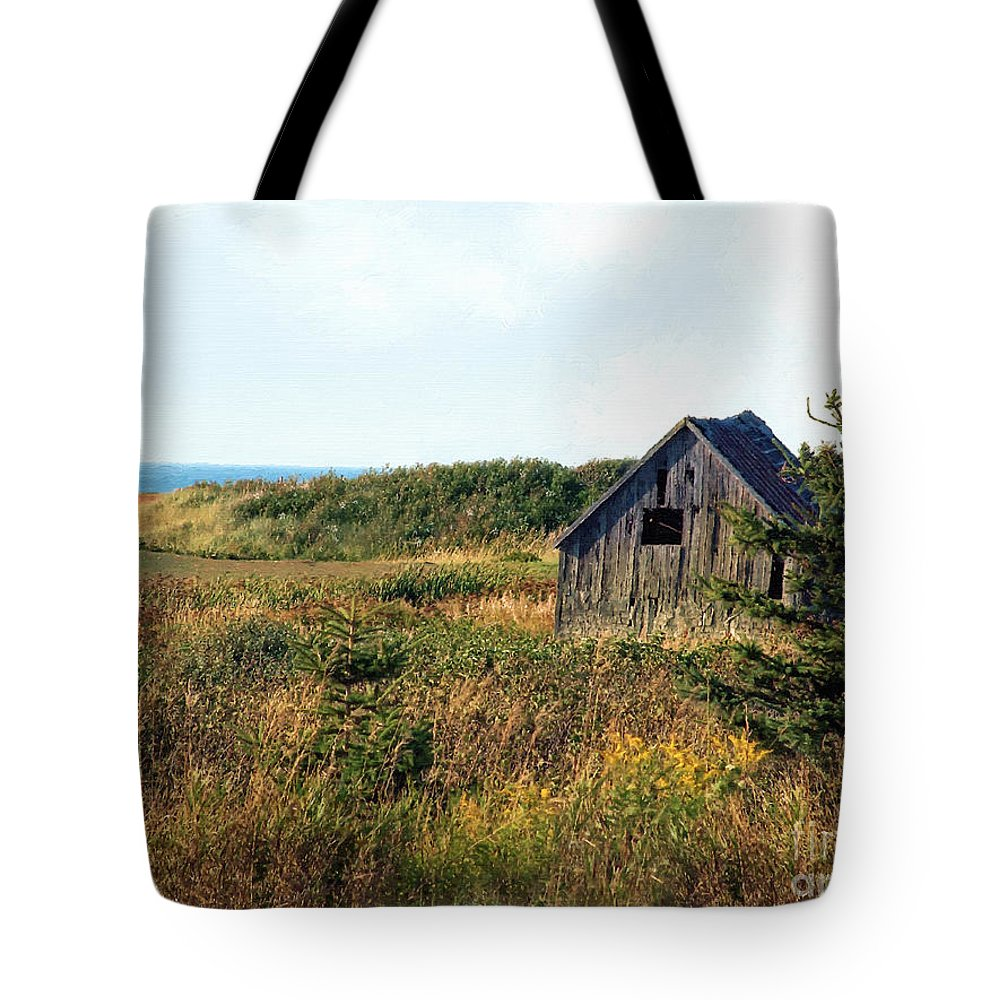Landscape Tote Bag featuring the painting Seaside Shed - September by RC DeWinter