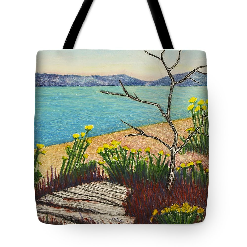 Vashon Island Tote Bag featuring the pastel Seaside Island Beach With Flowers by Michele Fritz