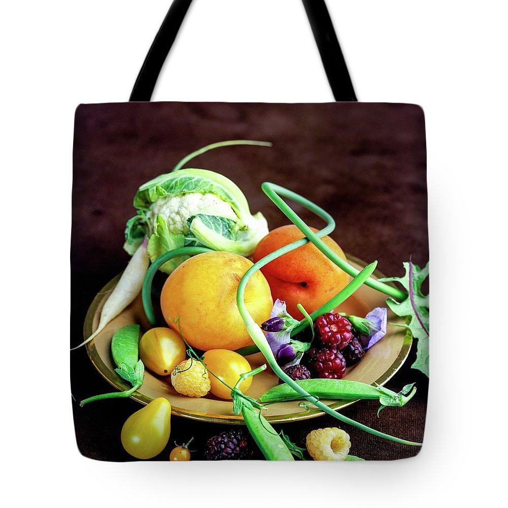 Fruits Tote Bag featuring the photograph Seasonal Fruit And Vegetables by Romulo Yanes