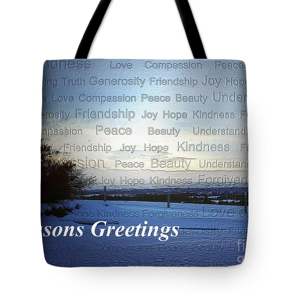 Season's Greetings Tote Bag featuring the photograph Seasons Greetings Wishes by Belinda Greb