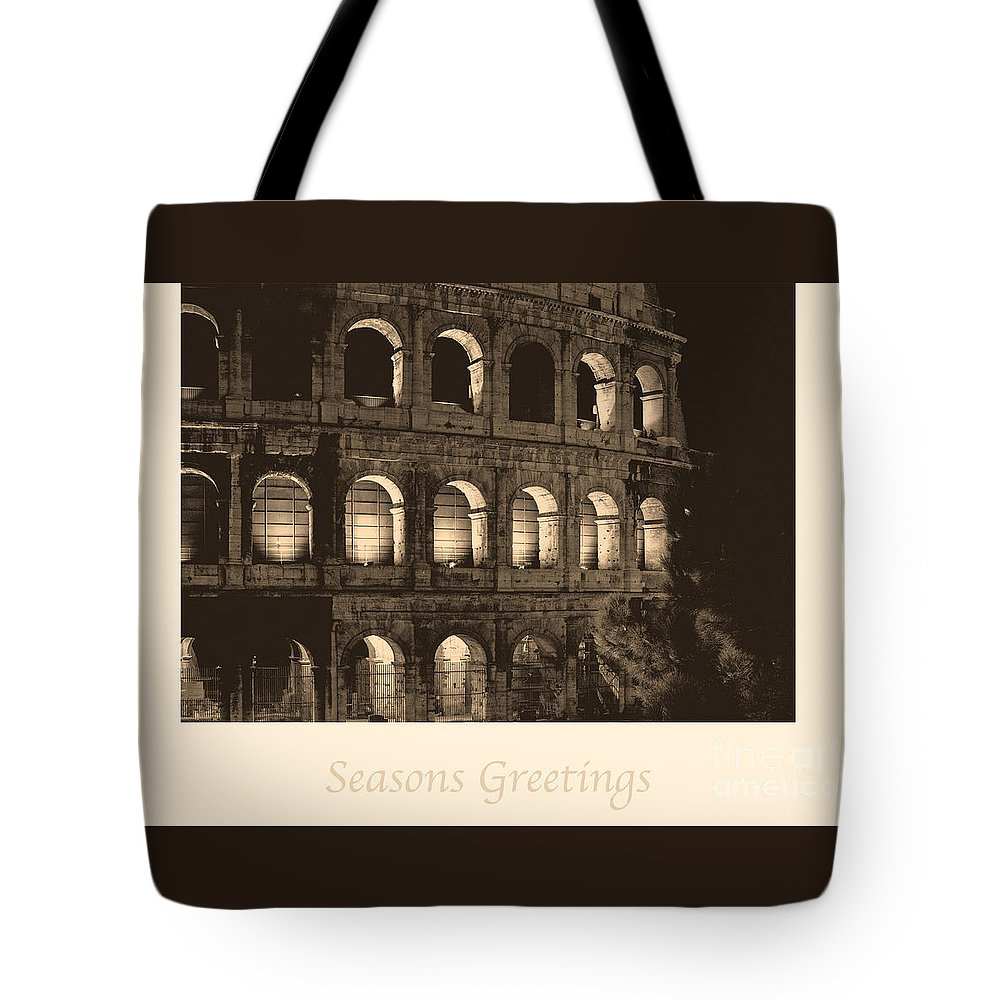 Italian Tote Bag featuring the photograph Seasons Greetings With Colosseum by Prints of Italy