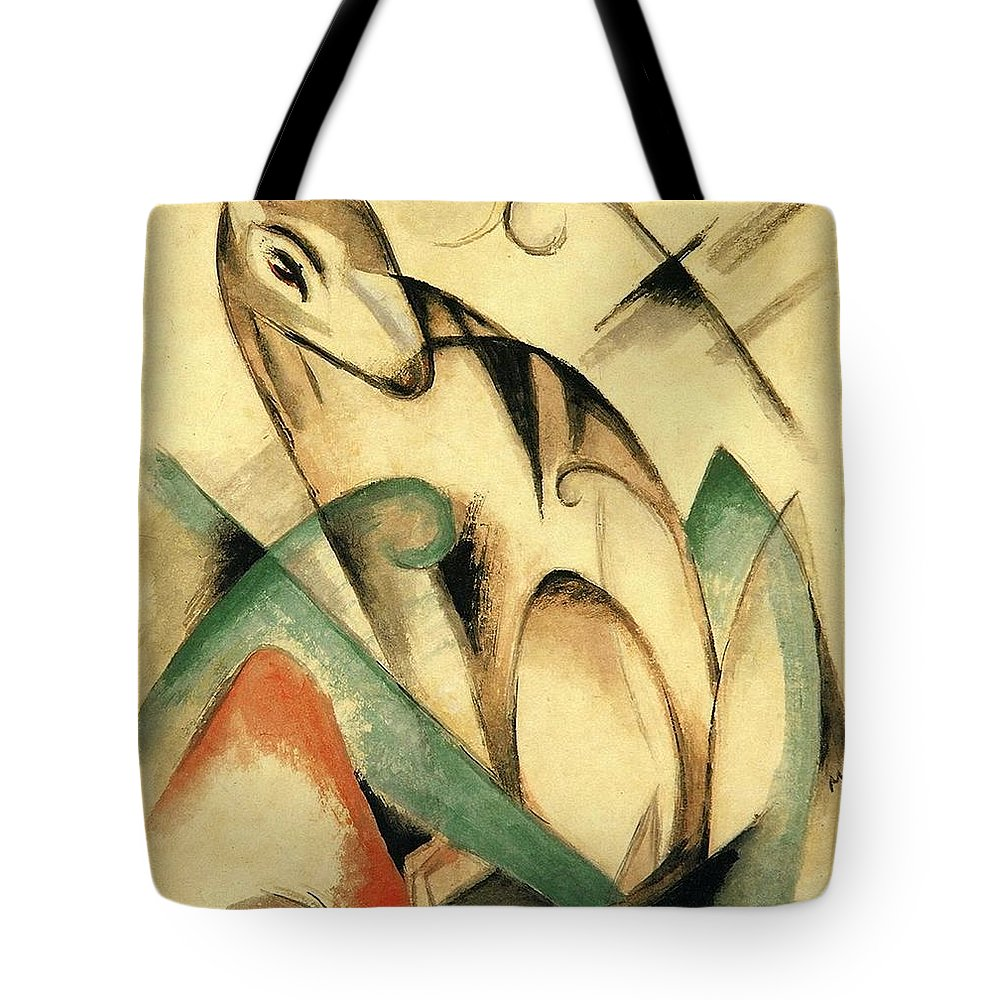 Franz Tote Bag featuring the painting Seated Mythical Animal 1913 by Franz Marc