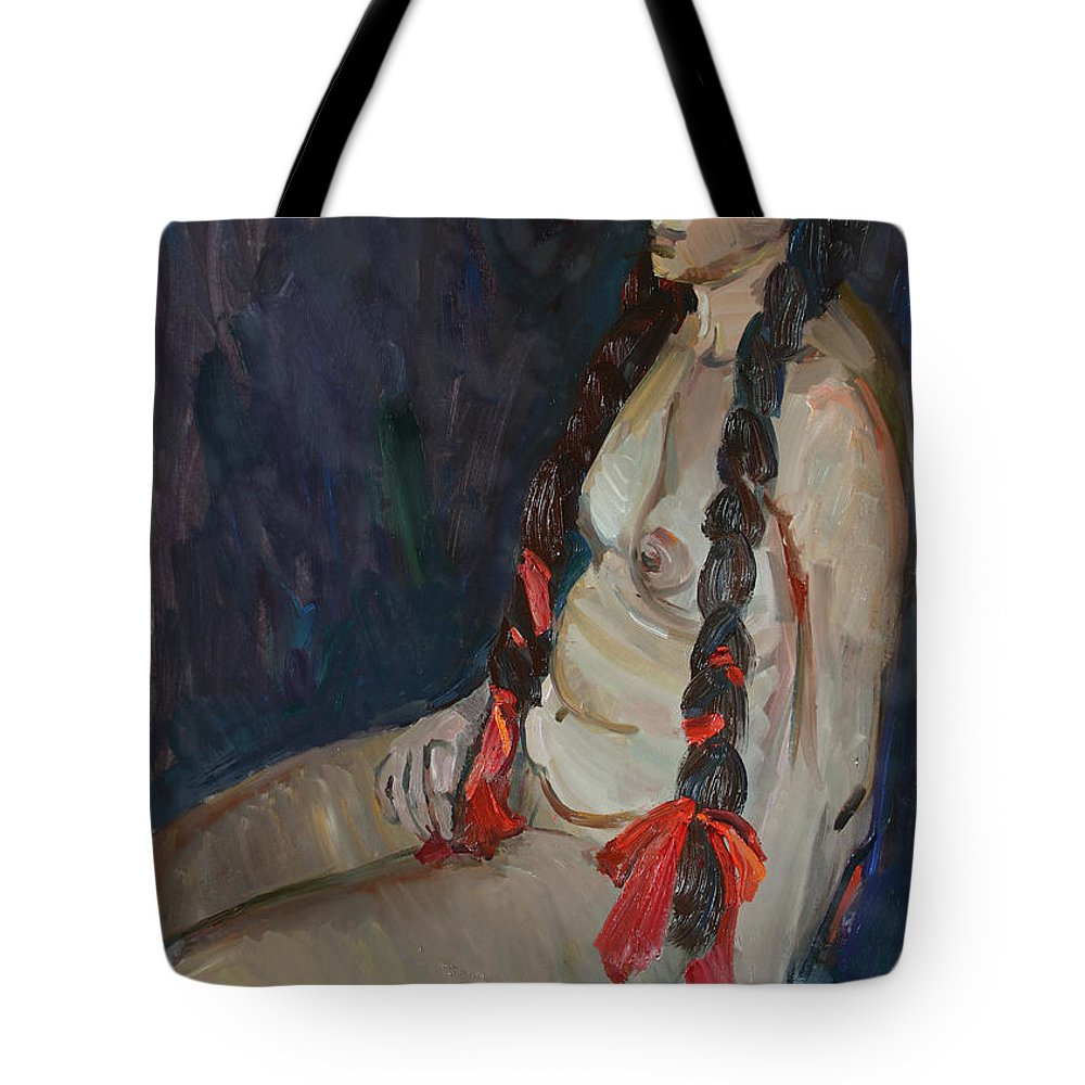 Breast Tote Bag featuring the painting Seated Nude by Juliya Zhukova