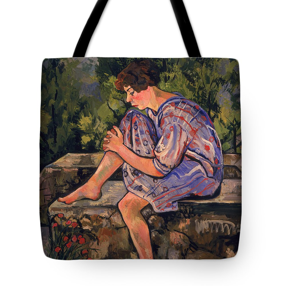 Sitting Tote Bag featuring the painting Seated Young Woman by Marie Clementine Valadon