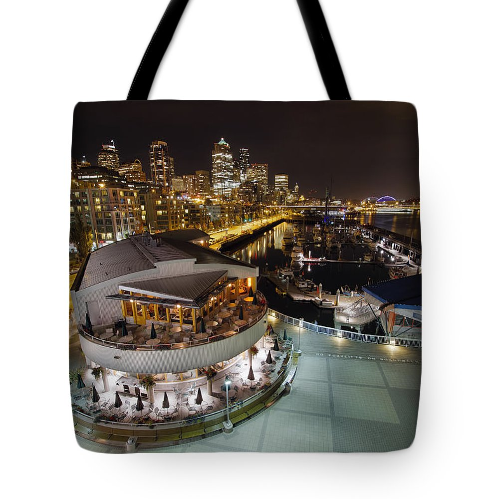 Seattle Tote Bag featuring the photograph Seattle City Skyline And Marina At Night by Jit Lim
