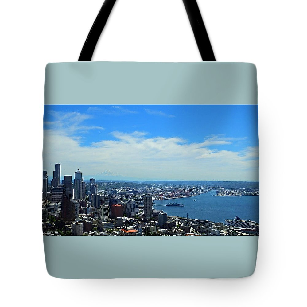 Seattle Tote Bag featuring the photograph Seattle Harbor And Mt Rainier From Space Needle by Judy Wanamaker