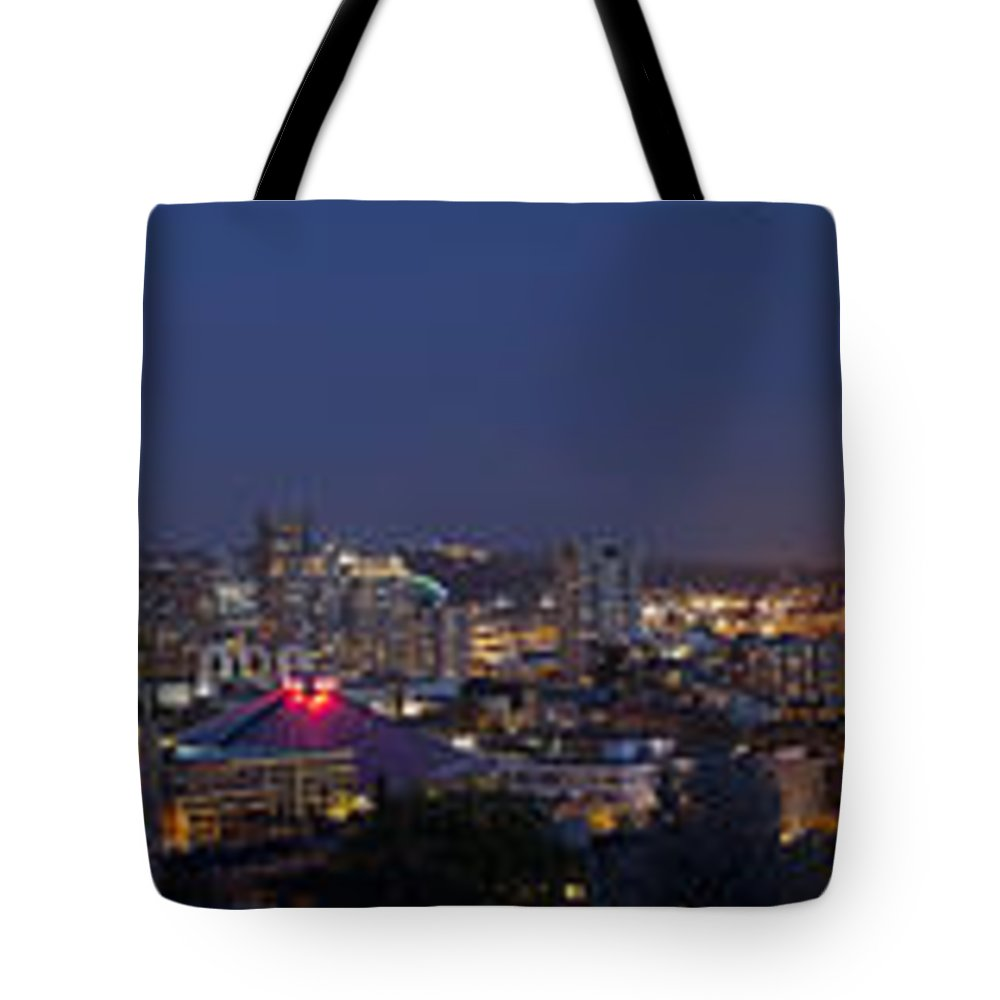 Seattle Tote Bag featuring the photograph Seattle Night Skyline by Georgia Fowler