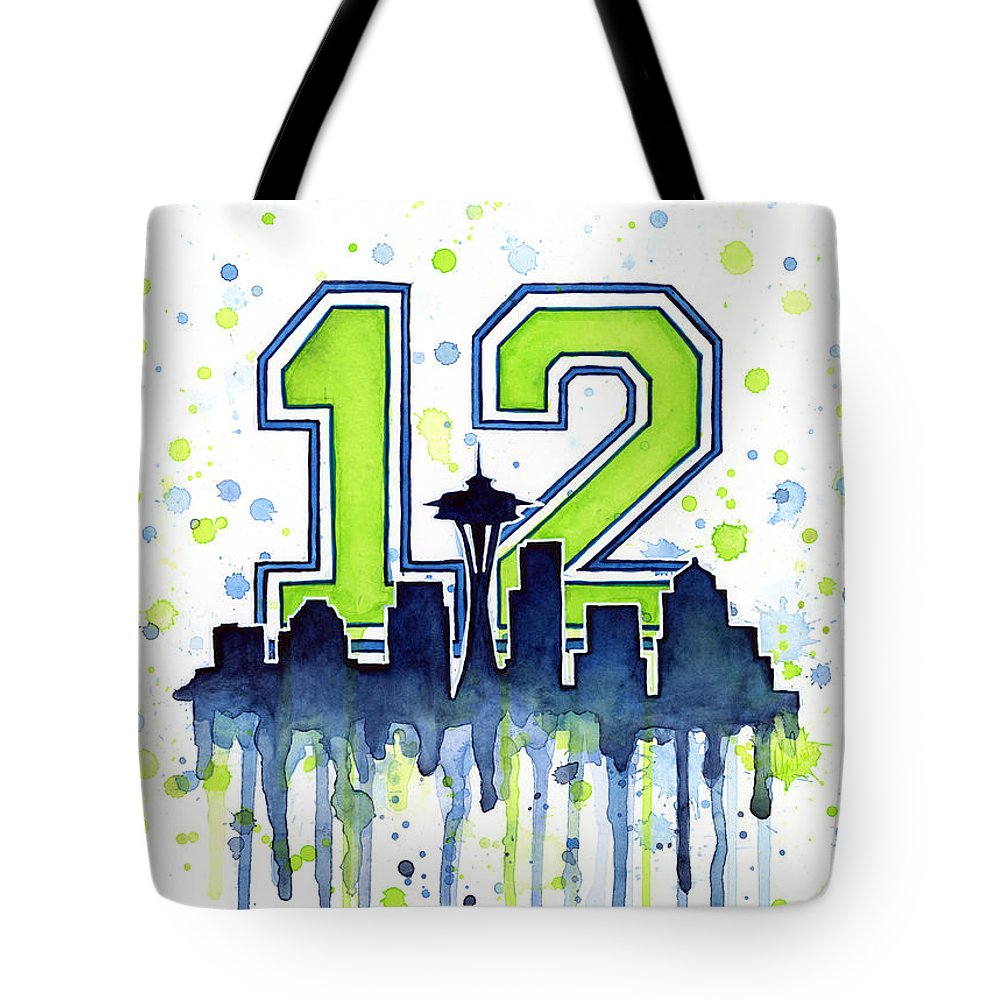 Seattle Tote Bag featuring the painting Seattle Seahawks 12th Man Art by Olga Shvartsur
