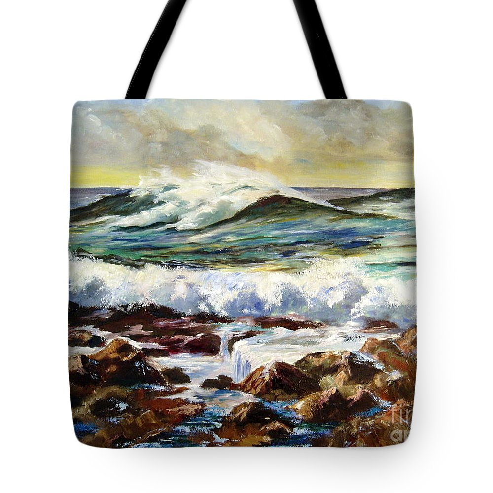 Seascape Tote Bag featuring the painting Seawall by Lee Piper