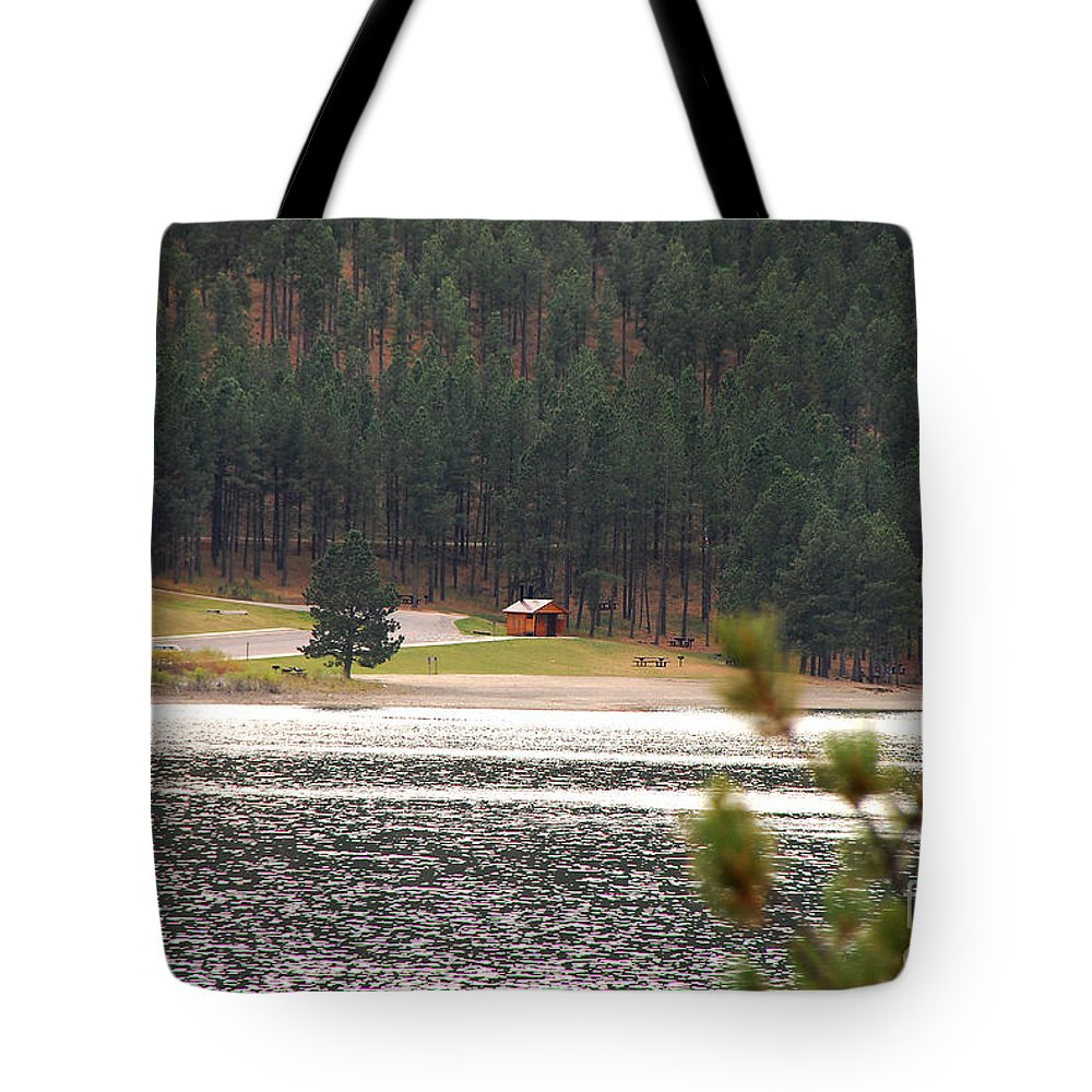 Lake Tote Bag featuring the photograph Secluded Cabin by Mary Carol Story