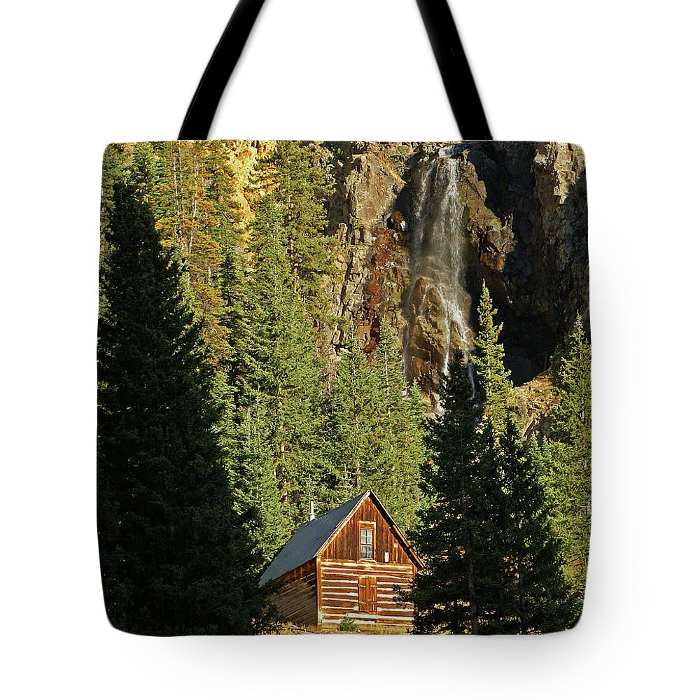 Cabin Tote Bag featuring the photograph Secluded Tranquility by Kelly Black