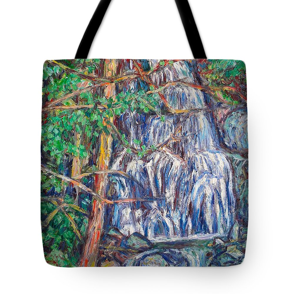 Waterfall Tote Bag featuring the painting Secluded Waterfall by Kendall Kessler