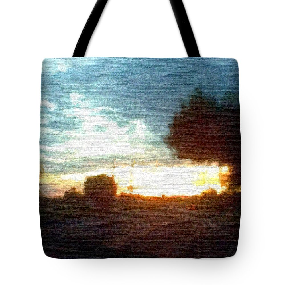 Abstract Sunset Tote Bag featuring the mixed media Second Sunset by Pharris Art