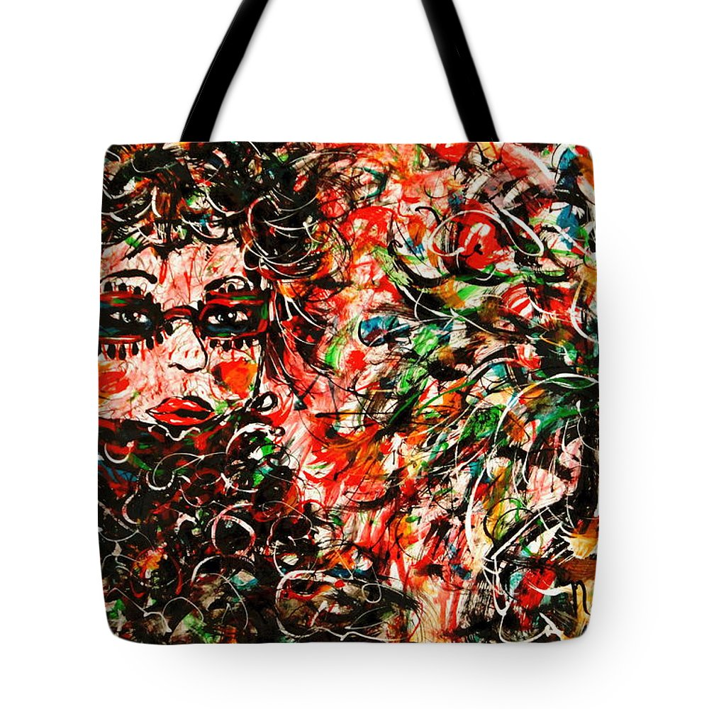 Free Expressionism Tote Bag featuring the painting Secret Agent by Natalie Holland