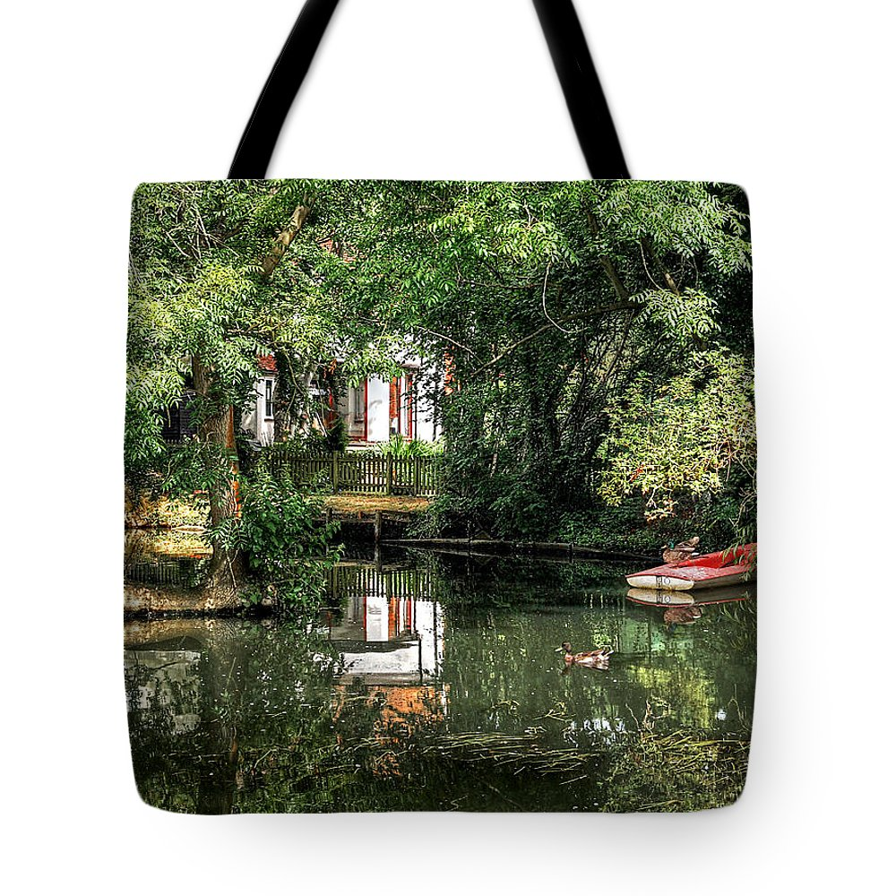 River Boat Tote Bag featuring the photograph Secret Retreat - River Reflections by Gill Billington