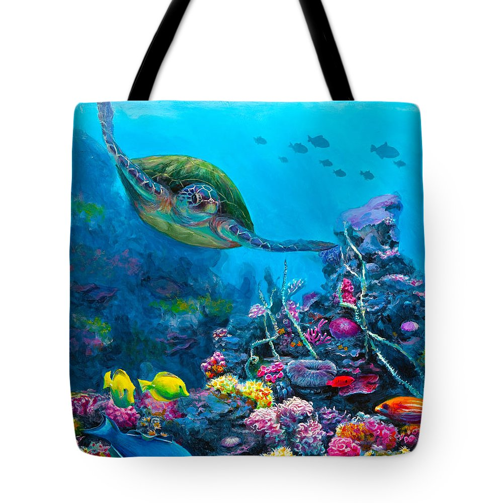 Hawaii Tote Bag featuring the painting Secret Sanctuary - Hawaiian Green Sea Turtle And Reef by Karen Whitworth
