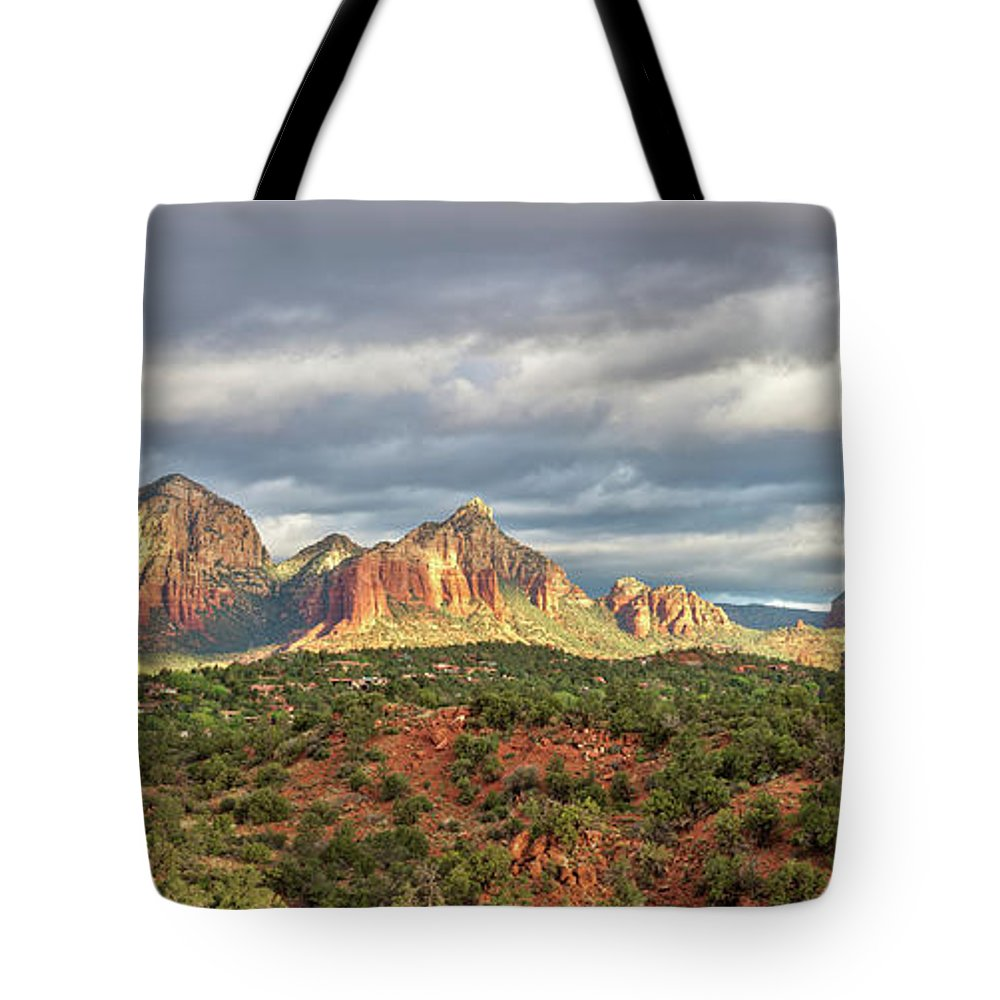 Scenics Tote Bag featuring the photograph Sedona, Arizona And Red Rocks Panorama by Picturelake