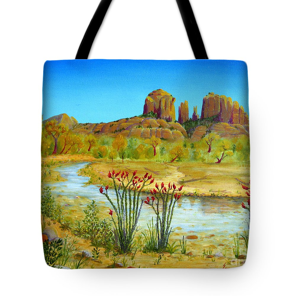 Sedona Tote Bag featuring the painting Sedona Arizona by Jerome Stumphauzer