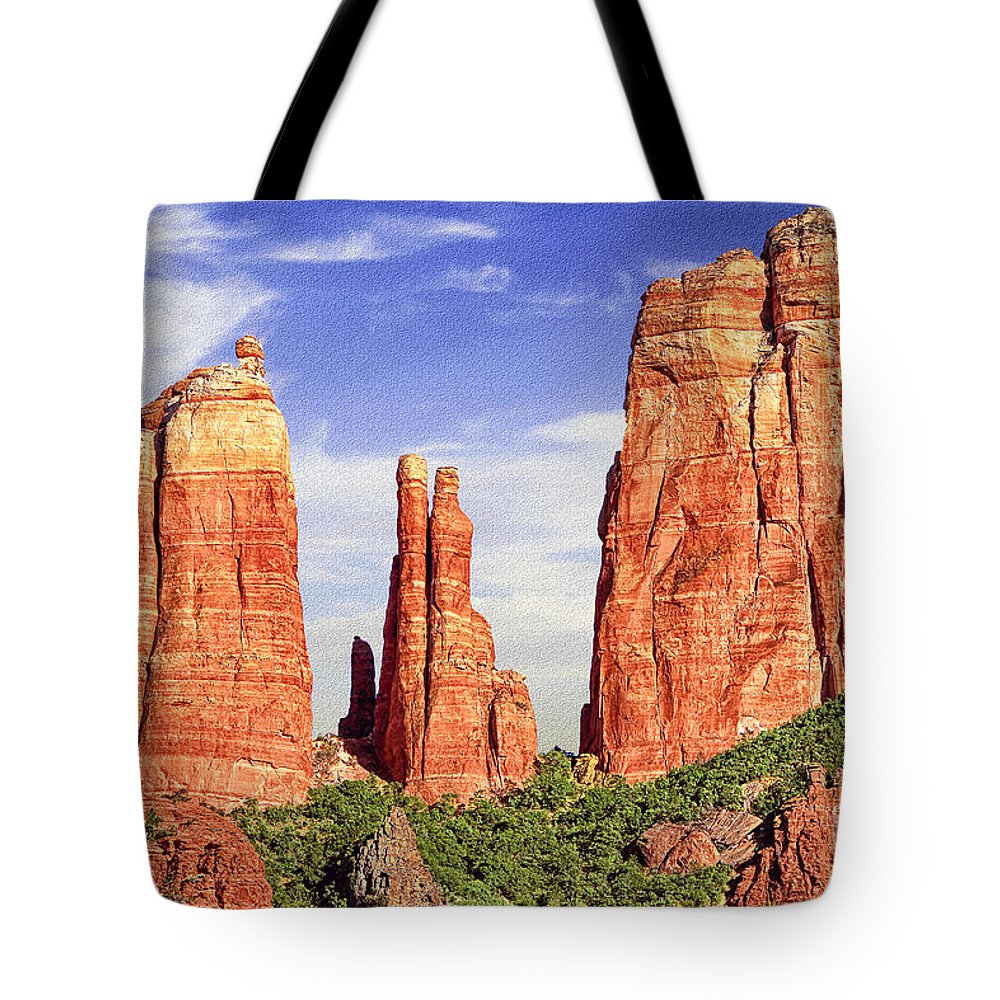 Arizona Tote Bag featuring the digital art Sedona Red Rock Cathedral Rock State Park by Bob and Nadine Johnston