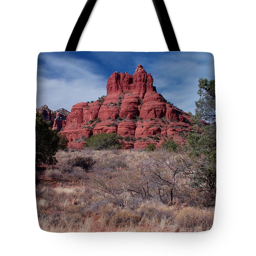 Red Rocks Tote Bag featuring the photograph Sedona Red Rock Formations by Photography by Laura Lee