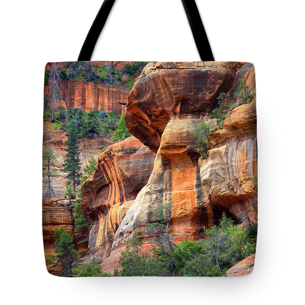 Sedona Tote Bag featuring the photograph Sedona Stripes by Carol Groenen