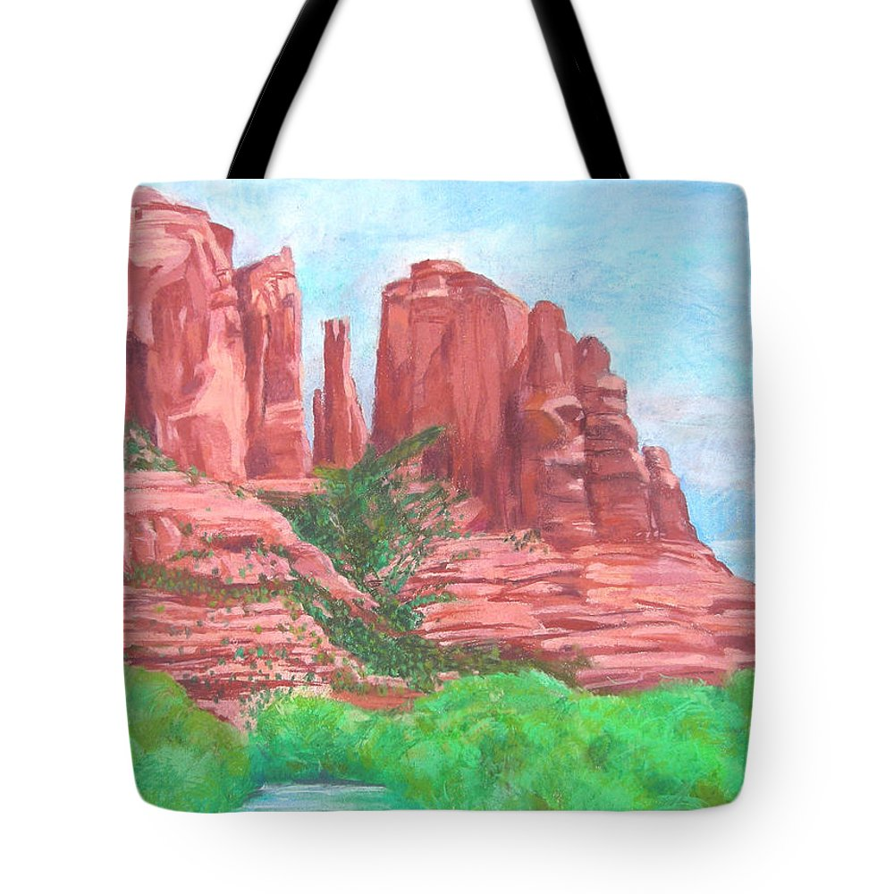 West Tote Bag featuring the pastel Sedonas by Neal Smith-Willow