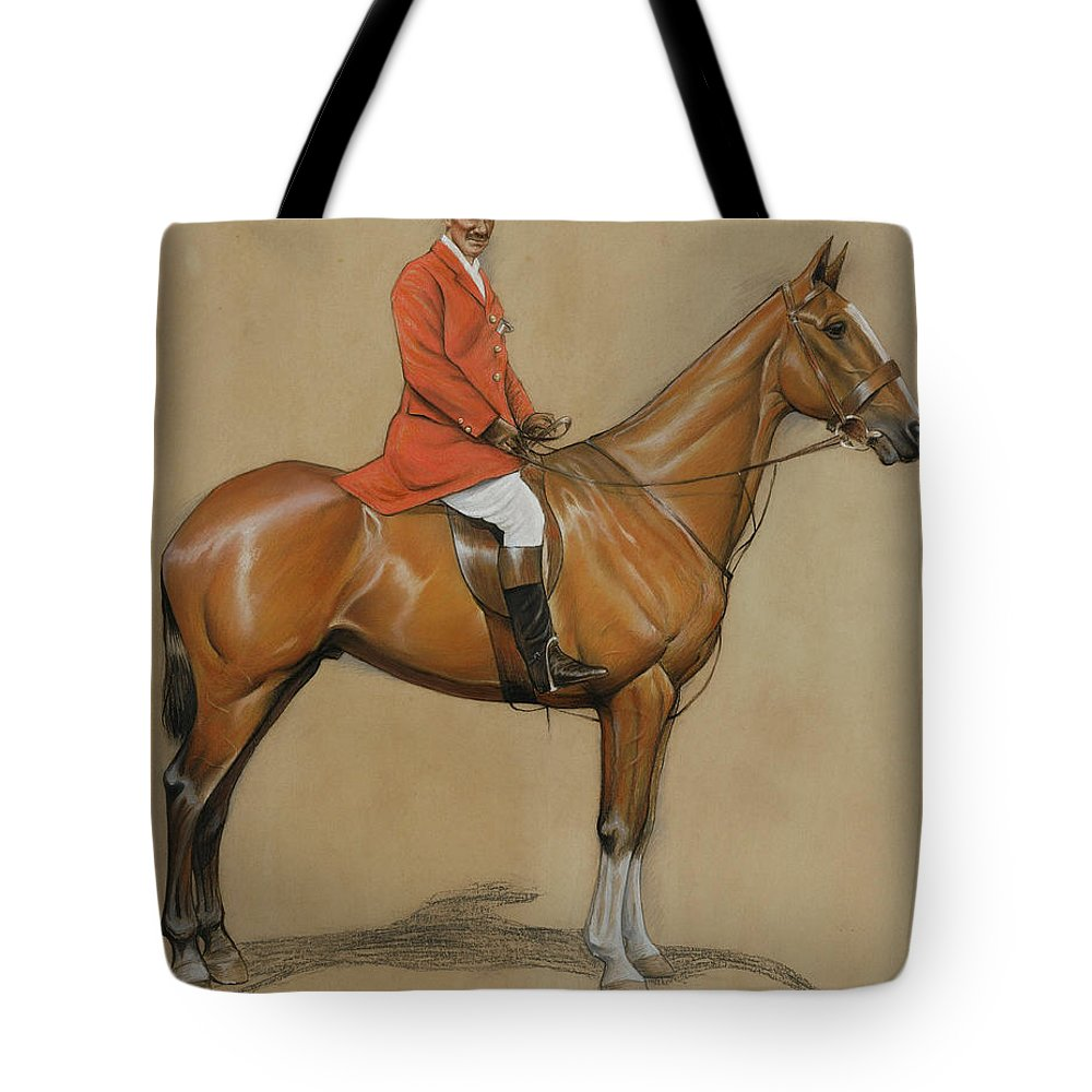 Male; Artist; Painter; Mounted; Riding; Horse; Equestrian; Horseback; Hunter; Hunting; Costume; Dress; Huntsman; Red Coat; Jacket; Boots; Breeches; Brown; Chesnut; Jodhpurs; Helmet; Drawing Tote Bag featuring the painting Self Portrait by Cecil Charles Windsor Aldin