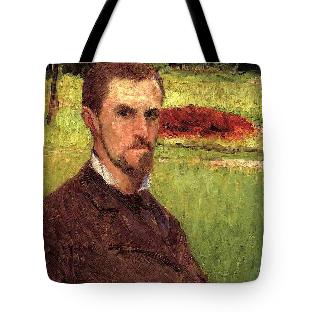 Male Tote Bag featuring the painting Self Portrait by Gustave Caillebotte