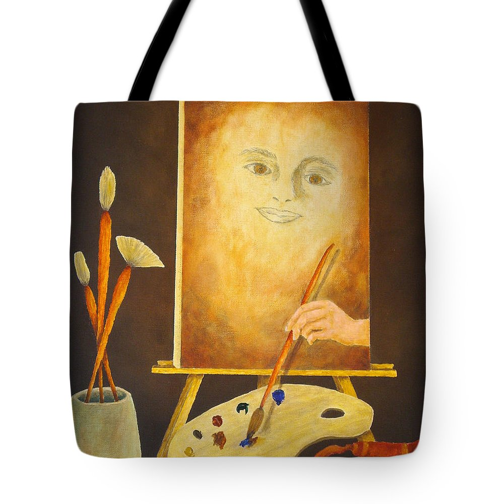 Pamela Allegretto Tote Bag featuring the painting Self-portrait In Progress by Pamela Allegretto