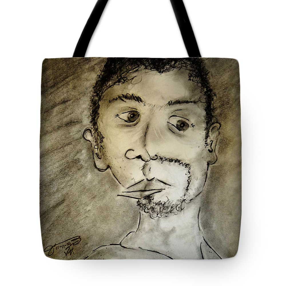 Self-portrait Tote Bag featuring the drawing Self-portrait by Jose A Gonzalez Jr
