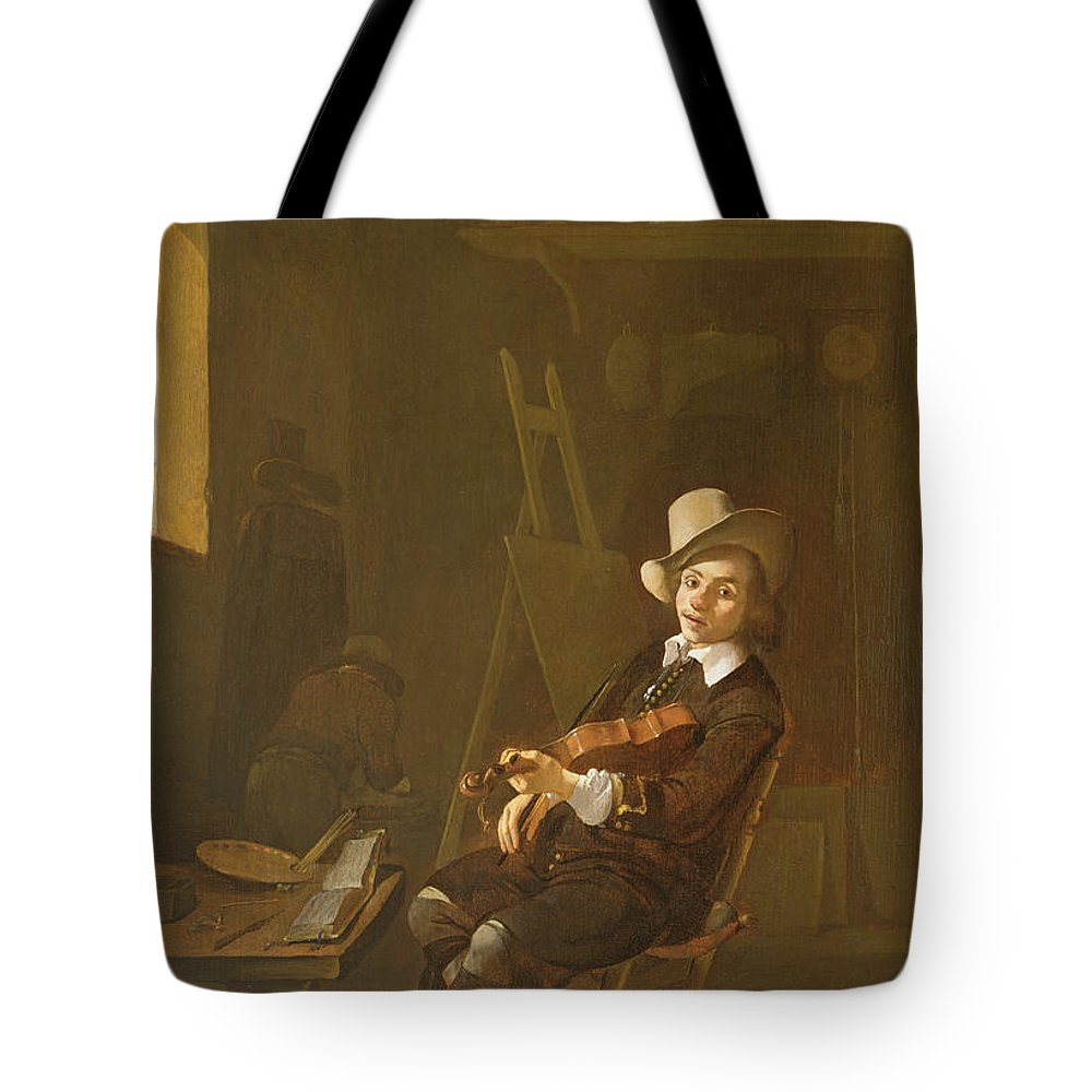 Easel Tote Bag featuring the photograph Self Portrait Of The Artist Playing A Violin by Johannes Lingelbach