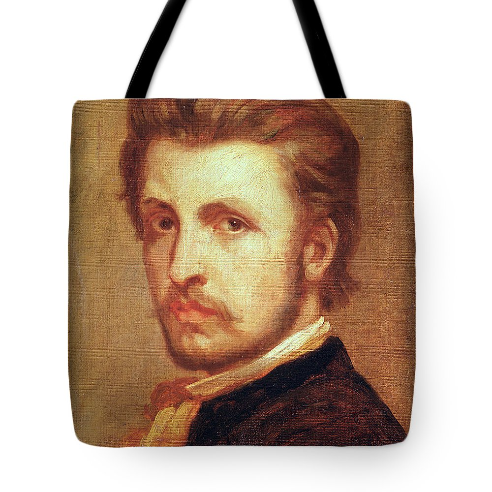 Male Tote Bag featuring the photograph Self Portrait Oil On Canvas by Thomas Couture