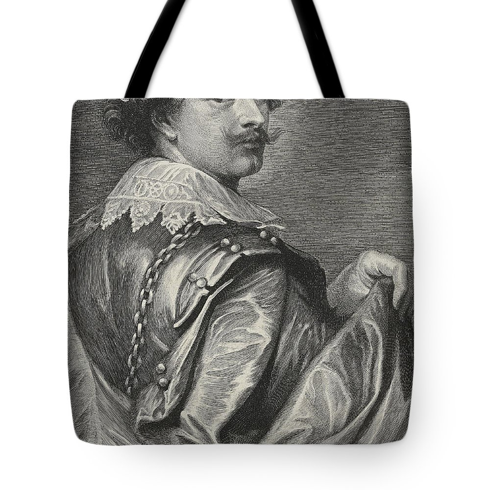 Male Tote Bag featuring the drawing Self Portrait by Sir Anthony van Dyck