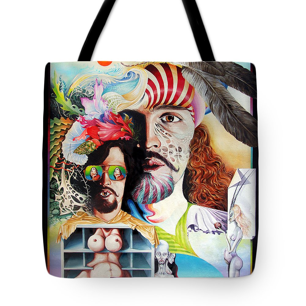 Surrealism Tote Bag featuring the painting Selfportrait With The Critical Eye by Otto Rapp