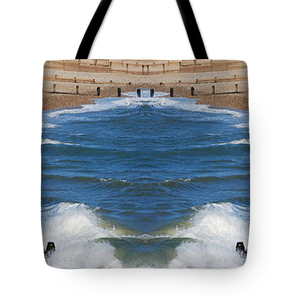 Selsey Tote Bag featuring the digital art Selsey Mirrored by Wendy Wilton