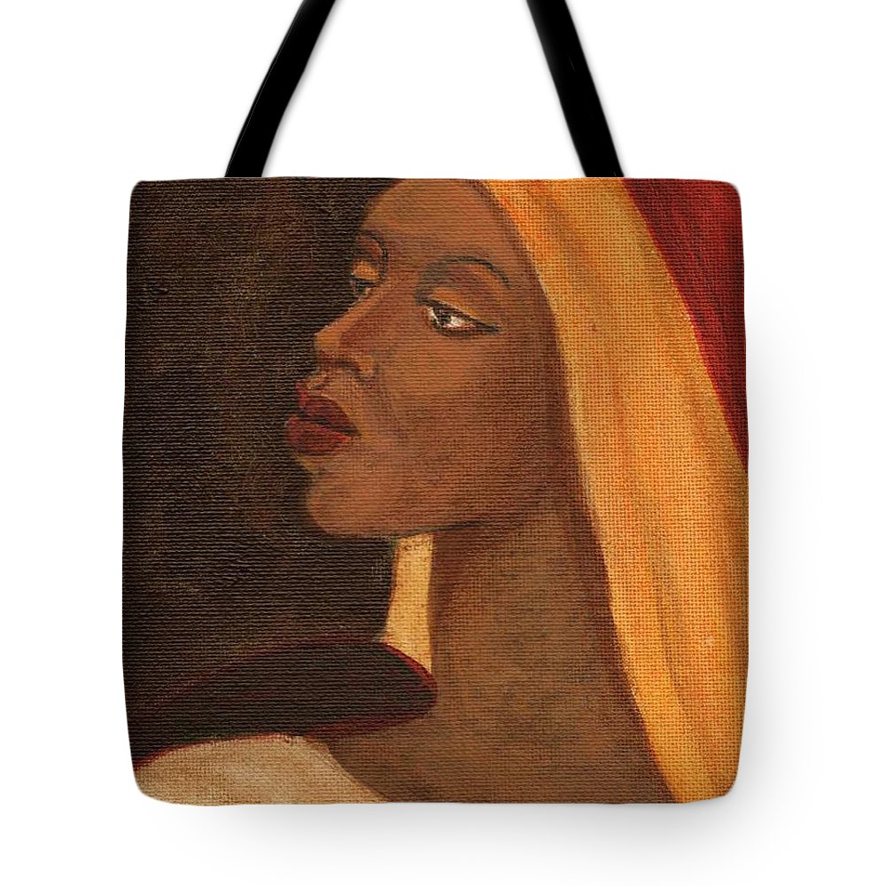 An African Woman Tote Bag featuring the painting Semi-abstract- Woman by Asha Sudhaker Shenoy