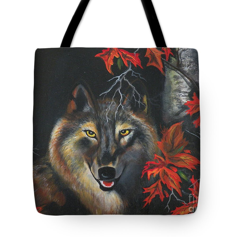 Wolf Tote Bag featuring the painting Seneca by Lora Duguay
