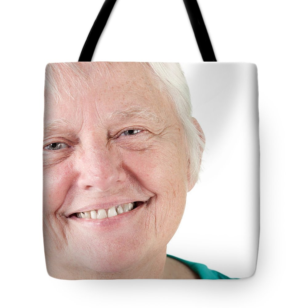 Adult Tote Bag featuring the photograph Senior Woman Portrait Smiling by Gunter Nezhoda