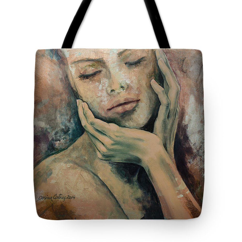 Fantasy Tote Bag featuring the painting Sensing... by Dorina Costras