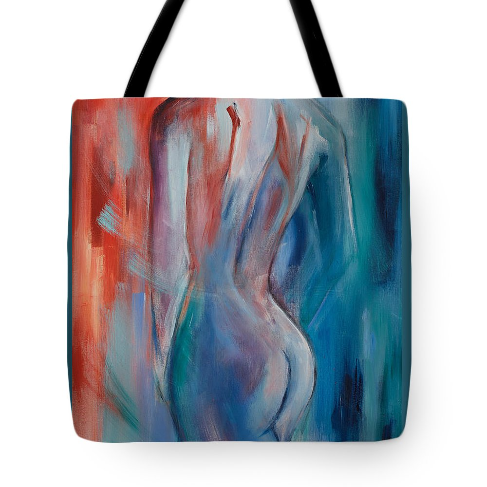 Nude Tote Bag featuring the painting Sensuelle by Elise Palmigiani