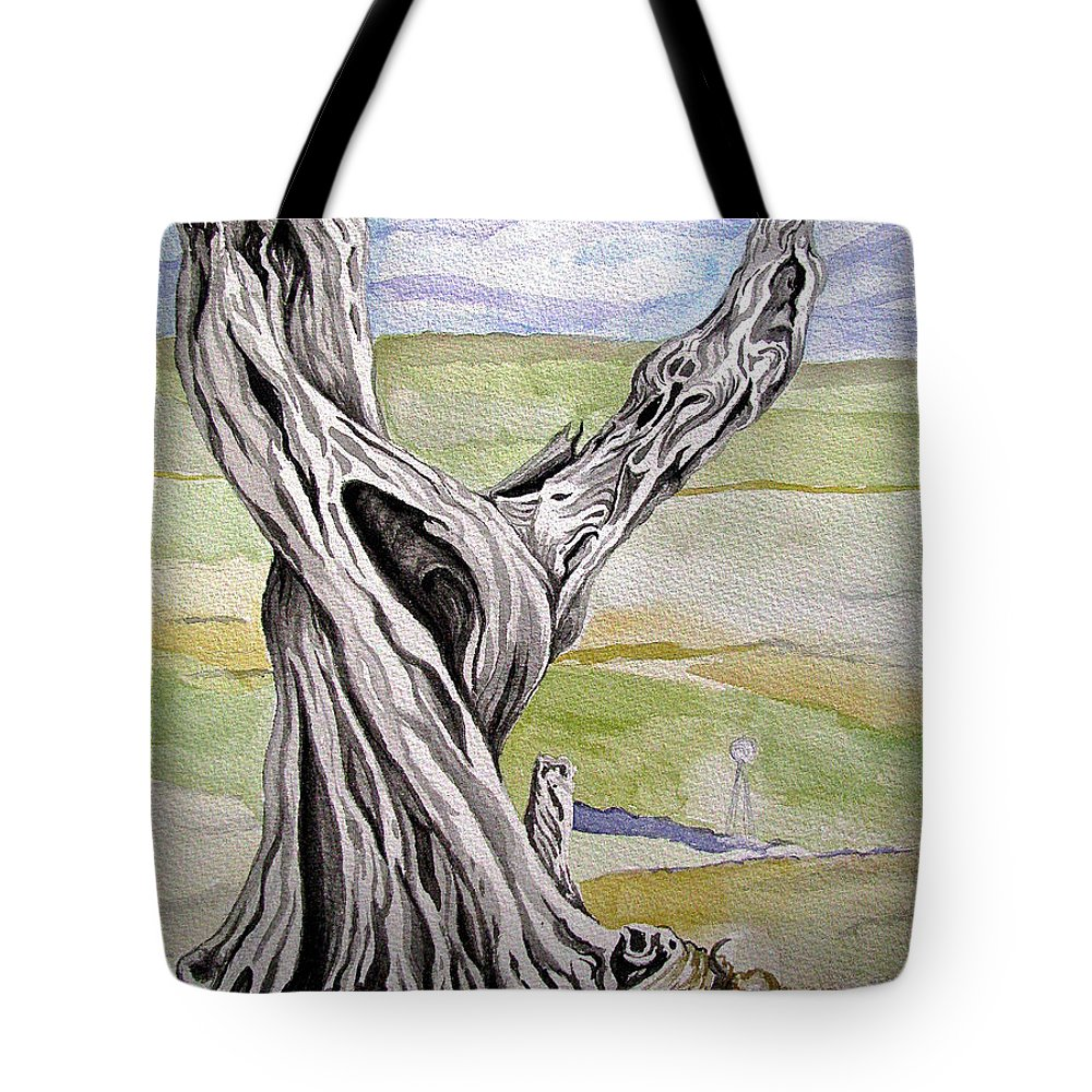 Trees Tote Bag featuring the painting Sentinel Tree by Linda Williams