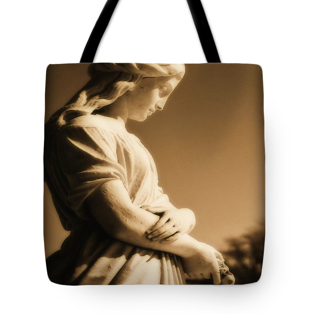 Brown Tote Bag featuring the photograph Sepia Angel Dream by Gothicrow Images