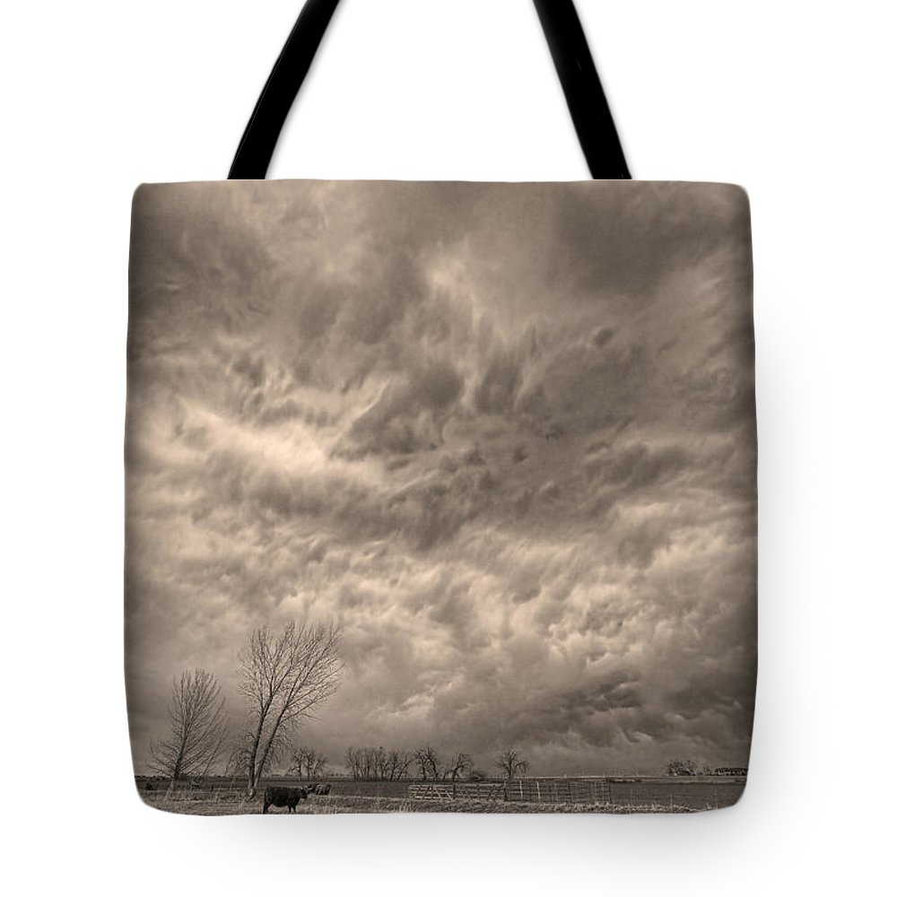 Storms Tote Bag featuring the photograph Sepia Angry Skies by James BO Insogna